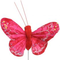 Veer vlinder oranje-rood 5cm 24st