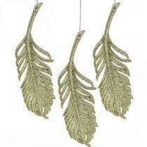Decoratieve veren, boomversieringen met glitter, adventsversieringen, veren om op te hangen gouden L22cm 12st