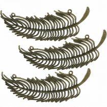 Decoratieve veren, sieradenhangers, veren van metaal, verspreide bronskleuren L8cm 10st