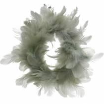 Decoratieve verenkrans grijs Ø18cm Paasdecoratie echte veren