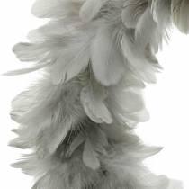 Paasdecoratie lentekrans groot lichtgrijs Ø40cm lentedecoratie echte veren