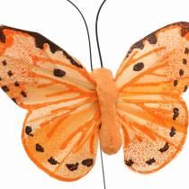 Vlinder geel oranje op draad 7 cm draad 24 stuks
