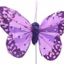 Veer vlinder op draad roze, paars 7cm 24st
