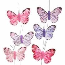 Veer vlinder metaaldraad roze, paars 7cm 12 st