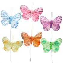 Veer vlinder op draad gekleurd 6cm 12st