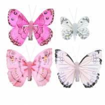 Vlinder op clip roze 6cm 10 stuks