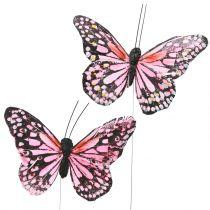 Vlinder op draad roze 11cm 12st