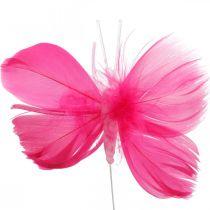 Veren vlinders roze / roze / rood, decoratieve vlinders op draad 6st