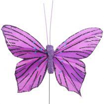 Veer vlinders paars 8,5cm 12st