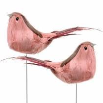 Verenvogel op draad roze 12cm 4st