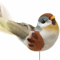 Vogel op draad 5,5 cm gekleurd 9st