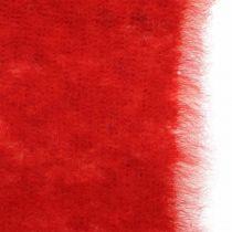 Vilten lint decoratie two-tone rood, wit Pot lint kerst 15cm × 4m