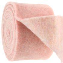 Viltlint, potlint tweekleurig wit / roze 15cm 5m