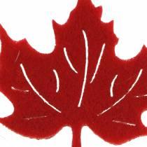 Scatter decoratie herfstvilt vellen rood, oranje 3.5cm 36p