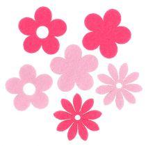 Vilten bloem roze, roze 3,5 cm 96st