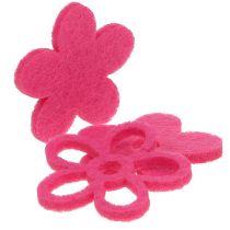 Viltbloem om roze te bestrooien als decoratieset Ø4cm 72st