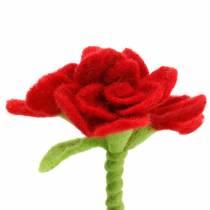 Vilten bloem 15cm met 3 bloemen