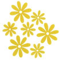 Vilten bloemenset in geel 96st