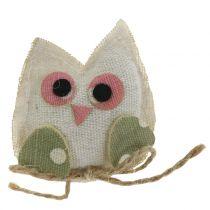 Decoratieve uilenstof 6cm roze / groen / wit 6st