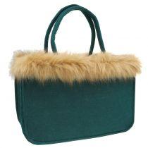 Vilten tas met bontrand groen 38cm x 24cm x 20cm