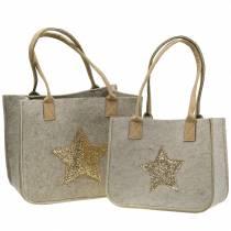 Vilten tas met lovertjes ster natuur, set van 2