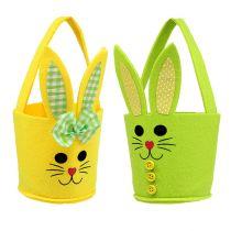 Vilten tas konijn geel, groen Paasmand paasdecoratie vilt 2st