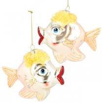 Kerstboomversiering vis, decoratieve hangers, kerstversiering, echt glas H9.5cm 2st