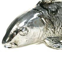 Deco vissen antiek zilver 14cm