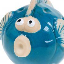 Keramiek vis maritiem, siervis blauw L11.5 4st