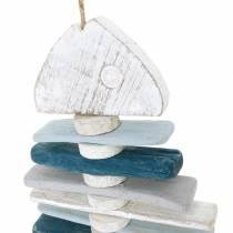 Maritieme vissendecoratie van drijfhout blauw, wit L70cm