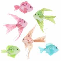 Decoratieve vis om op te hangen groen roze oranje blauw 13-24cm 6st