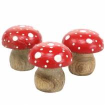 Decoratieve paddenstoelen hout Ø4,6–5cm H4,6–4,9cm 6st