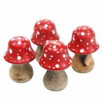 Decoratieve paddenstoelen hout Ø4,6-5 cm H6,8-7,2 cm 4st