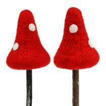 Paddenstoelplug gemaakt van rood vilt 30cm 4st