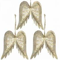 Engelenvleugels, metalen decoratie om op te hangen, kerstboomversieringen gouden, antieke look H11.5cm B11cm 3st
