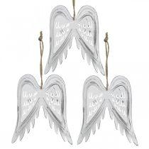 Engelenvleugels om op te hangen, kerstversiering, metalen hangers wit H11.5cm B11cm 3st