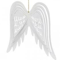 Vleugels om op te hangen, adventsdecoratie, engelenvleugels van metaal Wit H29.5cm B28.5cm