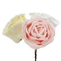 Foamrose Mix Ø10cm roze, crème, wit 6st