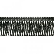 Omzoomd lint, cordonetrand, leonische franjes zwart W4cm L25m