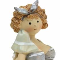 Decoratief figuur dame in een zwempak grijs 10cm 2st