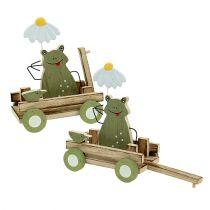 Kikker in de wagen natuur, groen 19cm x 7cm x 14cm 4st