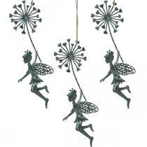 Lentedecoratie, elf met paardenbloem, decoratiehanger bloemenfee, metalen decoratie 3st