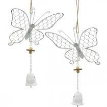 Lentedecoratie, metalen vlinders, Pasen, decoratiehanger vlinder 2st