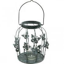 Lentedecoratie, lantaarn met vlinders, metalen lantaarn, zomer, kaarsdecoratie