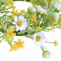Bloemenkrans met houtanemoon wit, geel Ø30cm
