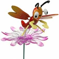 Tuinplug libel op bloem met metalen veer oranje, roze H74cm