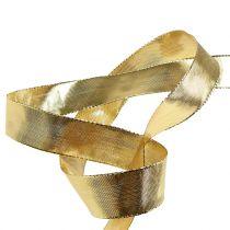 Gouden geschenklint met draadrand 25m