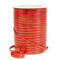 Geschenklint rood met gouden strepen 4,8 mm 250 m