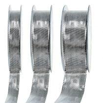 Cadeaulint zilver met draadrand 25m