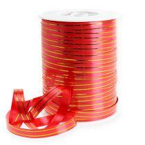 Geschenklint 2 gouden strips op rood 10 mm 250m